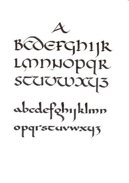 Uncial (top) and Carolingian from calligraphybybillgrant.com