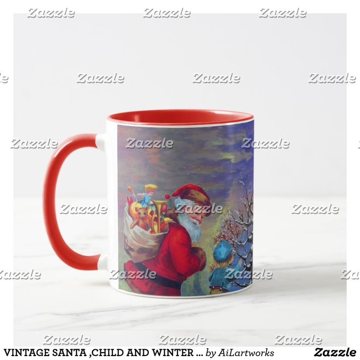 VINTAGE SANTA ,CHILD AND WINTER TREE Christmas Mug  #trees #snow #toys #xmas #mugs