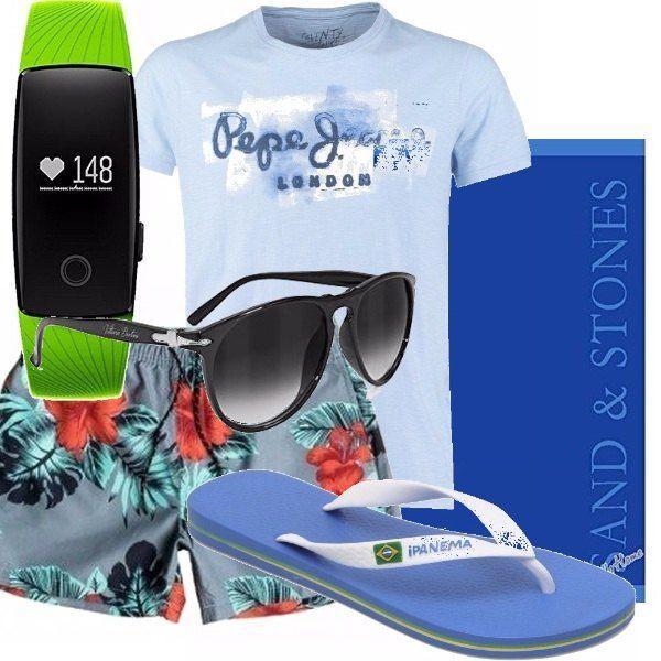 Look estivo per una giornata in spiaggia. Boxer mare in una bela fantasia fiorata. t-shirt azzurro cielo, infradito classico bianco e azzurro. Bracciale fitness verde fluo. Indispensabili gli occhiali da sole !