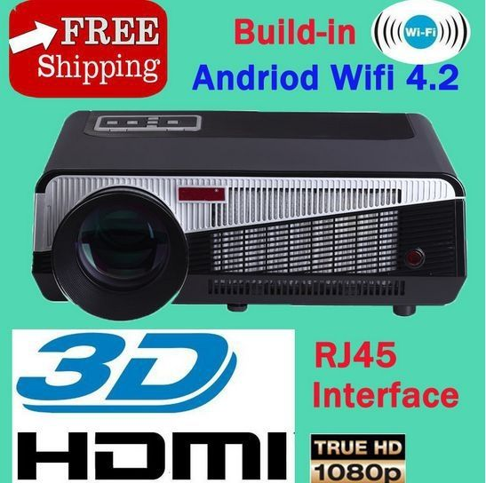 399.99$  Buy now - http://aliv0n.worldwells.pw/go.php?t=32389402893 - Full HD mini projetor LED home Theatre Projector 1280x800 led tv built-in Wifi Andriod 4.2, 3d glasses lux cine free gift