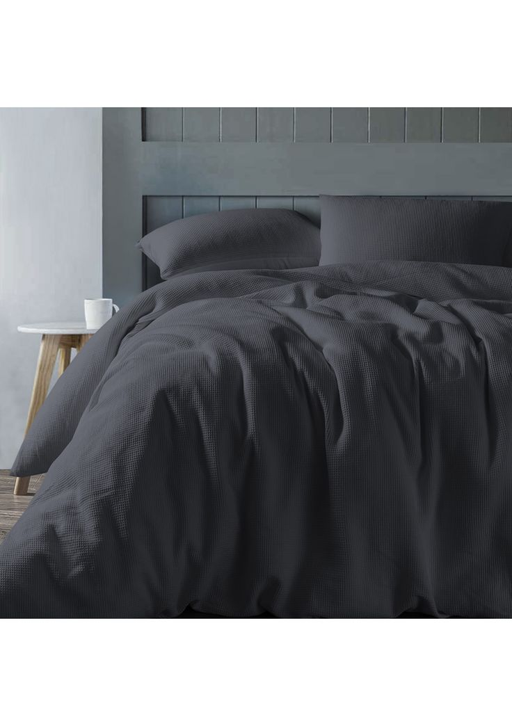 Slate Waffle Linen Cotton Quilt Cover Set- King Bed - Waffle Bedding & More - Onceit