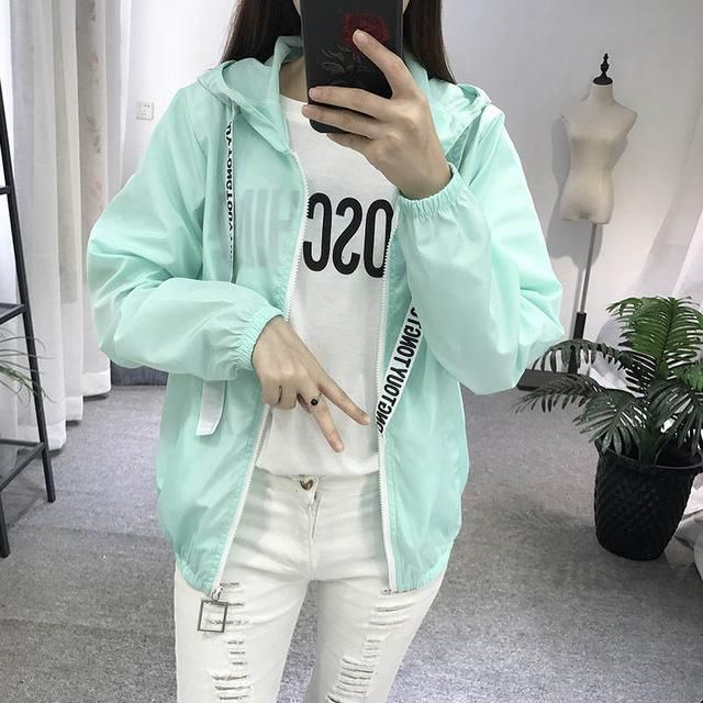 dbbc2a8d50d3 Women Basic Jacket New Fashion Hooded Thin Outwear High Quality Windbreaker Female  Summer Spring Sunscreen Jacket 2018