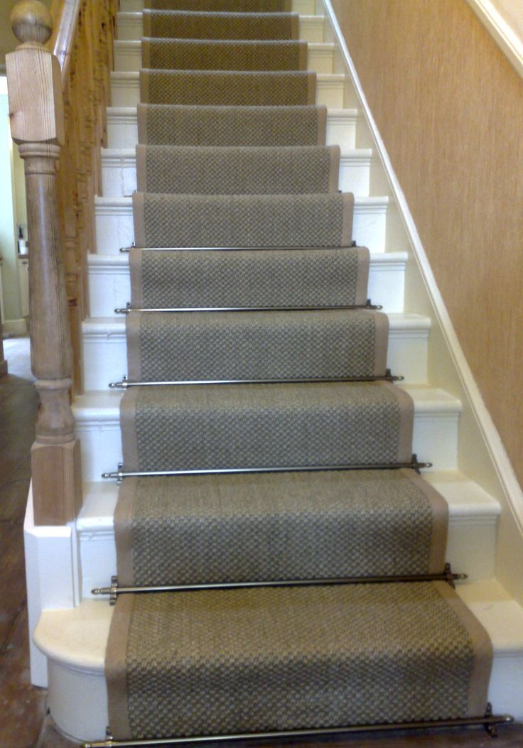 Sisal Stair Runner with Bound edges, understated, darker, I do not like the solid brass stairrods