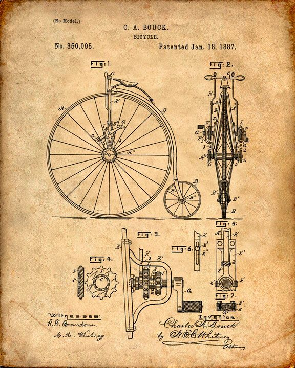 Patent Print of a Bicycle From 1887 - Patent Art Print - Patent Poster - Bike by VisualDesign on Etsy https://www.etsy.com/listing/212226550/patent-print-of-a-bicycle-from-1887