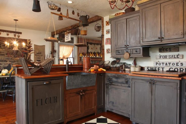 Primitive country kitchen country primitive kitchens for Country kitchen cabinets