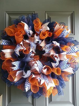 """18"""" Deco Mesh Custom NFL Team Wreath Denver Broncos. Im pretty sure Joni, you need this for you front door or decoration for your house for them Broncos! A super cute craft idea! @Joni Spidle"""