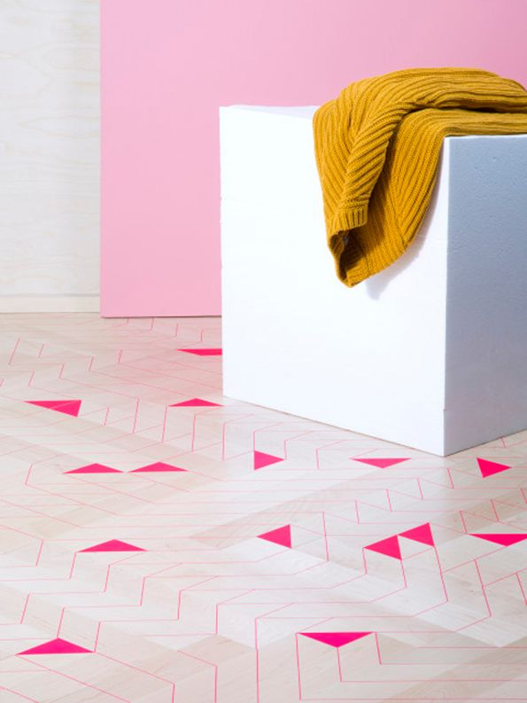 Ana Varela's 'Thin Lines.' Timber planks silk screened in neon pink patterns.