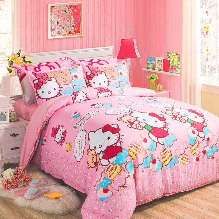 MeMoreCool Pink Girly Hello Kitty 100 Cotton Bedding Set