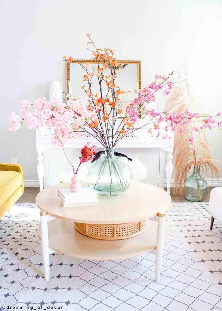 Pink Faux Cherry Blossom Flower Branch 40 Cherry Blossom Decor Pastel Home Decor Cherry Blossom Flowers