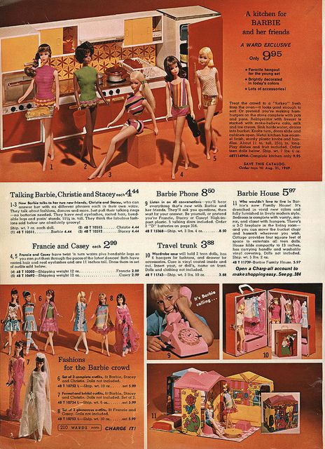 Ward's Exclusive Barbie Kitchen and Barbie's Family House from the Montgomery Ward Christmas Catalog, 1968