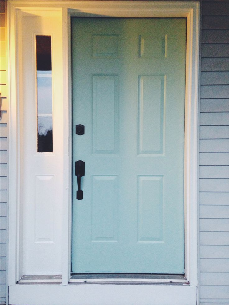 Lovely blue. Our new front door. Sherwin Williams Waterscape. SW 6470