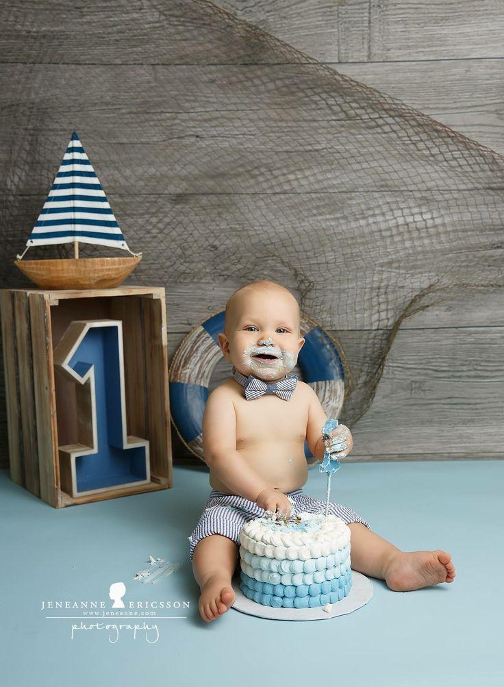Blue nautical boy first birthday cake smash