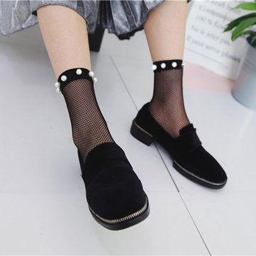 Women Girls Black Harajuku Fishnet Socks Hollow Out Breathable Sexy Pearl Mesh Ankle Socks at Banggood