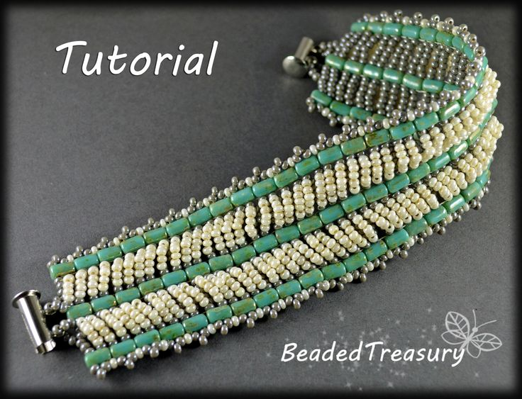 Seed Beeds Duet - bead weaving bracelet pattern / two-hole Rulla beads / Seed beads / Beading tutorial / bead pattern / Rulla pattern / BeadedTreasury