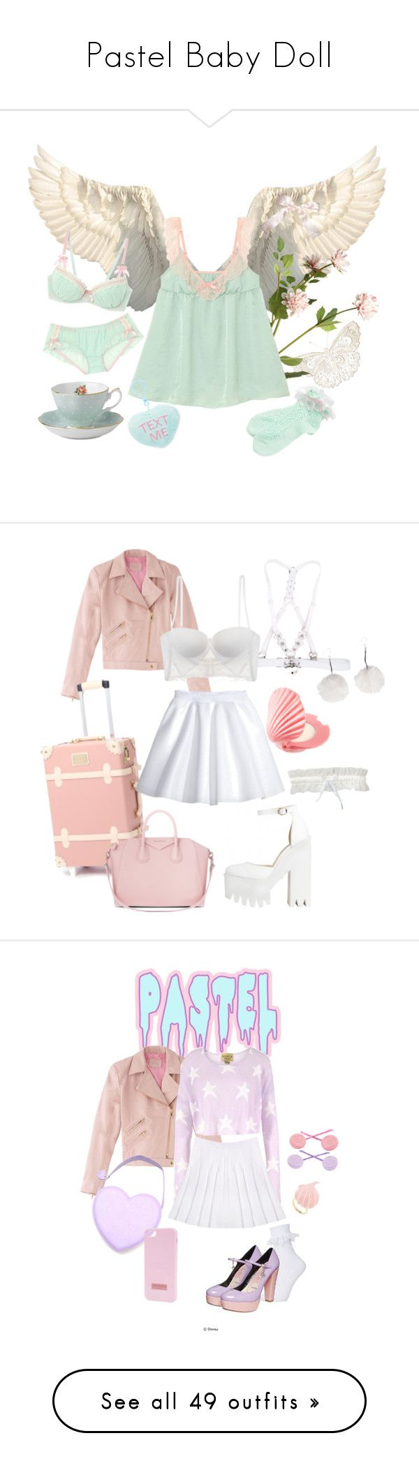 Pastel Baby Doll by softchinadoll on Polyvore featuring OKA, Royal Albert, claire's, La Perla, H&M, Untold, Givenchy, Wildfox, Topshop and Ted Baker.