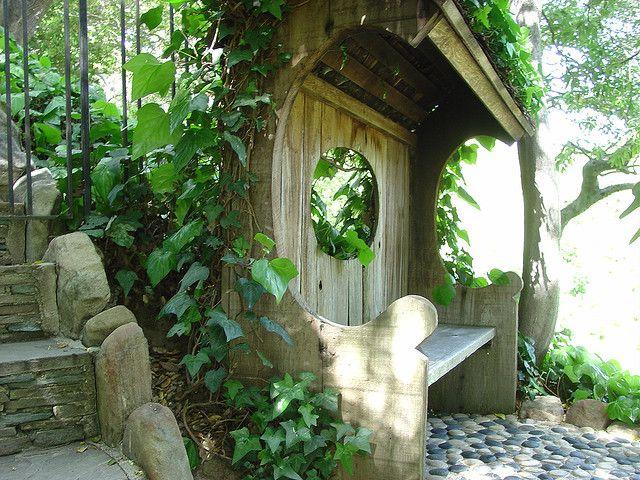 Japanese garden covered bench