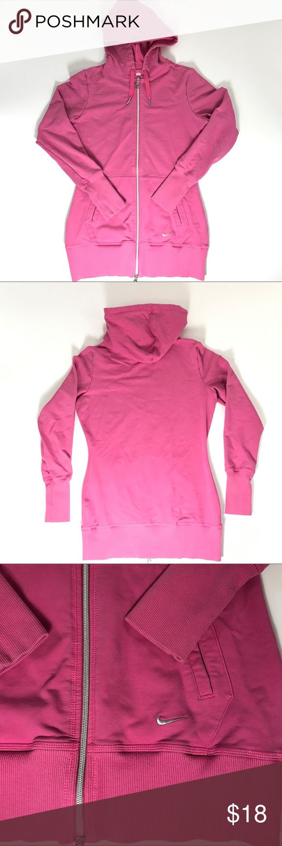 "Womens Nike Fit Dry Light Pink Hoodie Size Small No rips no stains the little metal clasp on the end of the hoodie string is been to see photos  Chest measures armpit to armpit 18""  Length measured middle back from bottom collar to bottom 26.5 Nike Jackets & Coats"