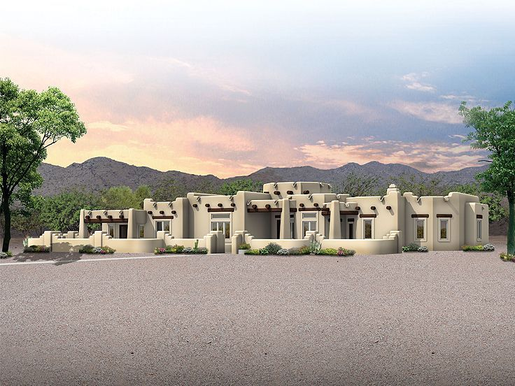 eplans adobe house plan spacious santa fe home 3959 square feet and 3 bedrooms from eplans house plan code - Southwestern Adobe Style House Plans