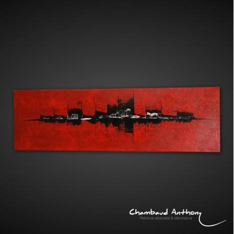 """<p><strong>Peinture abstraite</strong> aux couleurs rouge et noir, avec un fond texturé. Quelques nuances de blanc viennent équilibrer l'ensemble de la toile abstraite.</p> <p>Une <strong>peinture abstraite rouge</strong> en parfaite adéquation avec les salons ou chambres dans les tons de rouge et de noir dans un style """"<strong>deco New York</strong>"""".</p> <p>Passage au pinceau du fond de la toile ainsi que l'utilisation de techniques mixtes, avec un travail sur la peinture abstraite en…"""