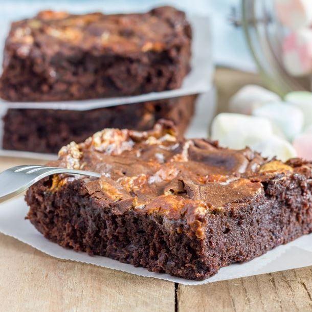 Brownie fondant aux chamallows et pépites de chocolat