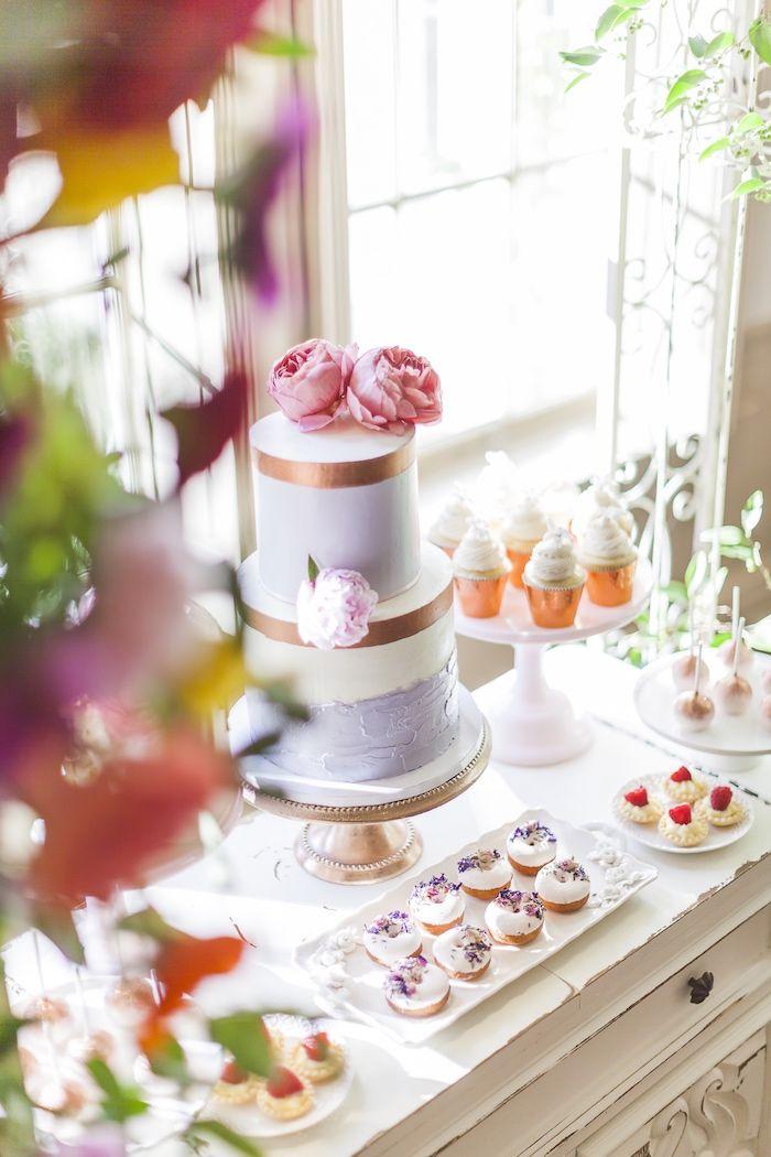 Cake table from a Secret Garden Baby Shower on Kara's Party Ideas | KarasPartyIdeas.com (14)