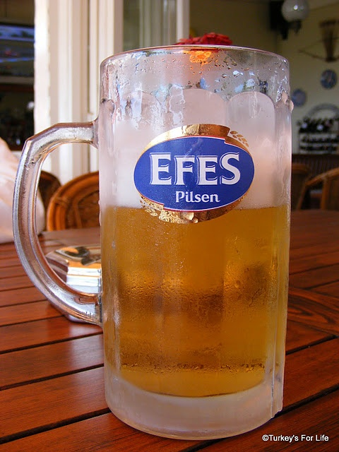 Okay, I know it's not solid food but the Turkish national beer, Efes Pilsen, is a regular on our menu.