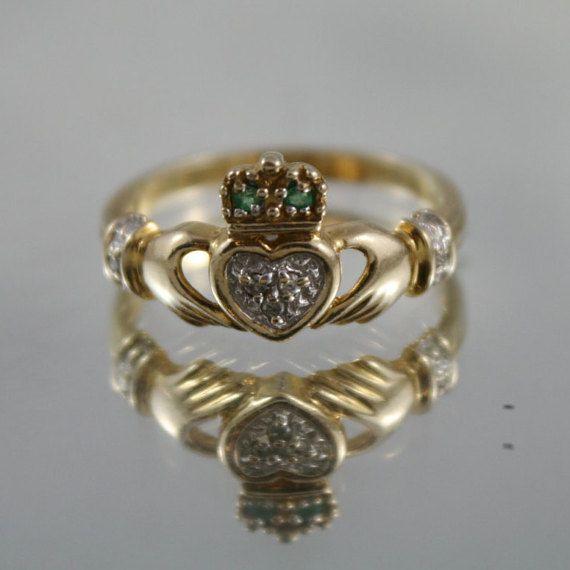 Stunning vintage 10k solid gold Emerald, Diamonds Irish Celtic Claddagh ring,SZ 8.5 USA, great dress ring,birthday gift