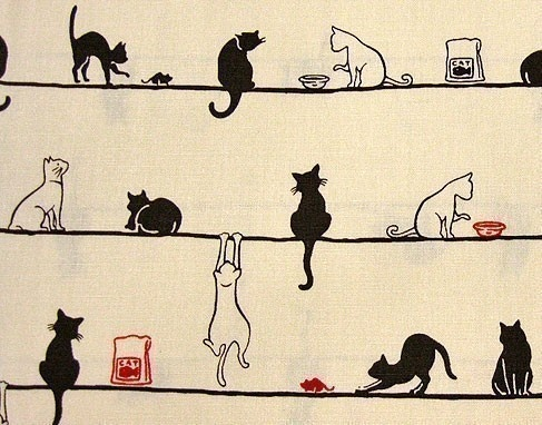 """Leisurely cats in cream by theheydayshop on Etsy (100% Japanese cotton, 18"""" x 44"""" / 45.7 x 110 cm, $ 8.00)"""