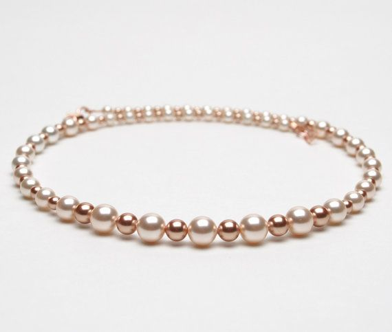 Cream Rose and New Rose Gold Swarovski Crystal Pearl by lilicharms, $30.00