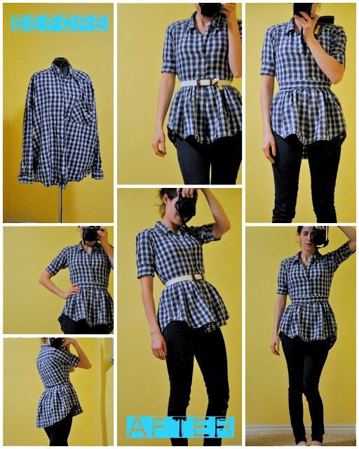 Men's button up to women's button up tutorial (or button up peplum top tutorial)