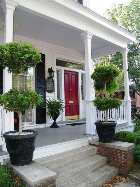 white house black shutters red door gray porch maybe refinish the front stoop new house. Black Bedroom Furniture Sets. Home Design Ideas