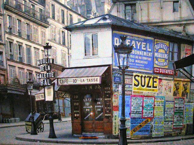 Autochrome of the XVIIIth Arr of Paris, Angle des rues Puget, Lepic et du Boulevard de Clichy - July 1914 - by Georges Chevalier - paris1914.com