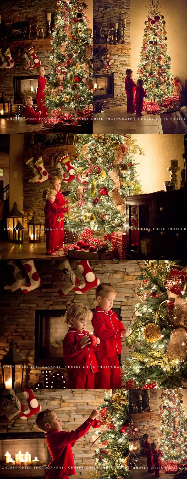 in home Christmas tree session