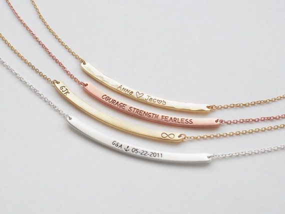 Bar Necklace, Personalized Engraved Name Plate Necklace, Medium Skinny Curve Bar Necklace D3.40C