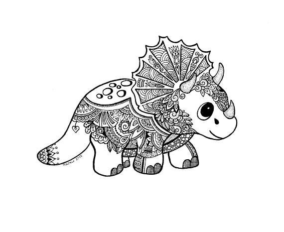 Dinosaur Zentangle Art Drawings Pen And Ink Black And White