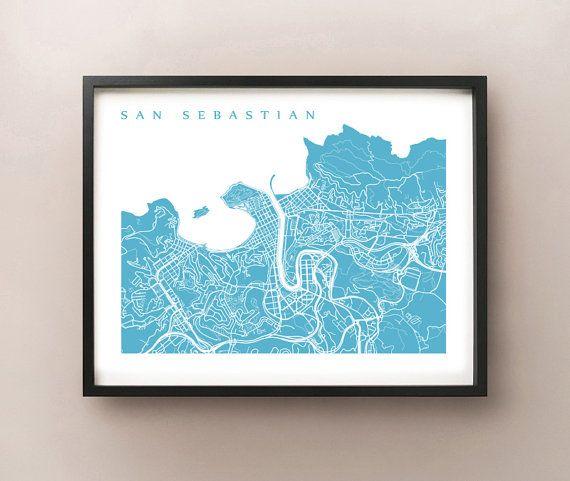 San Sebastian Map  Donostia Basque County Spain by CartoCreative