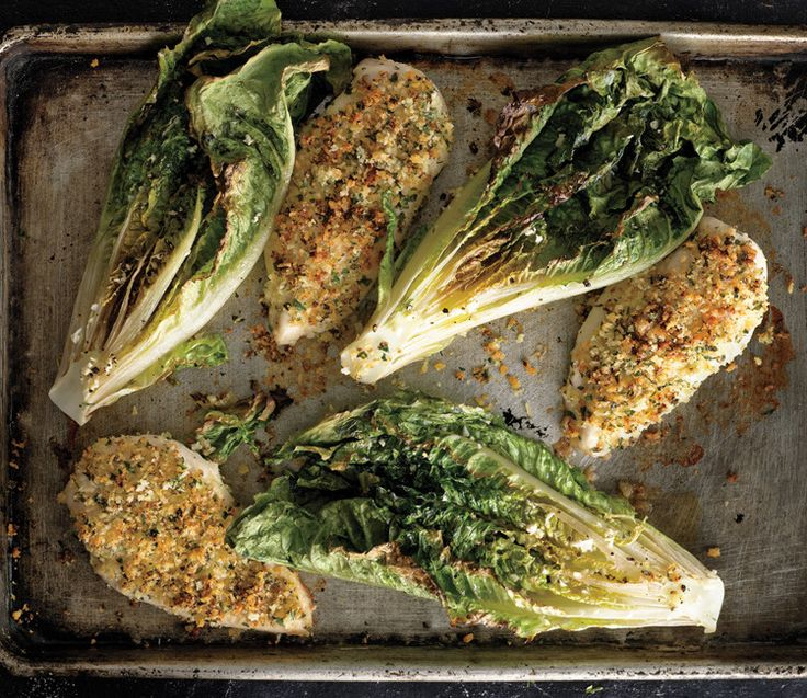 Parmesan chicken with caesar roasted romaine http://www.bonappetit.com/recipe/parmesan-chicken-with-caesar-roasted-romaine