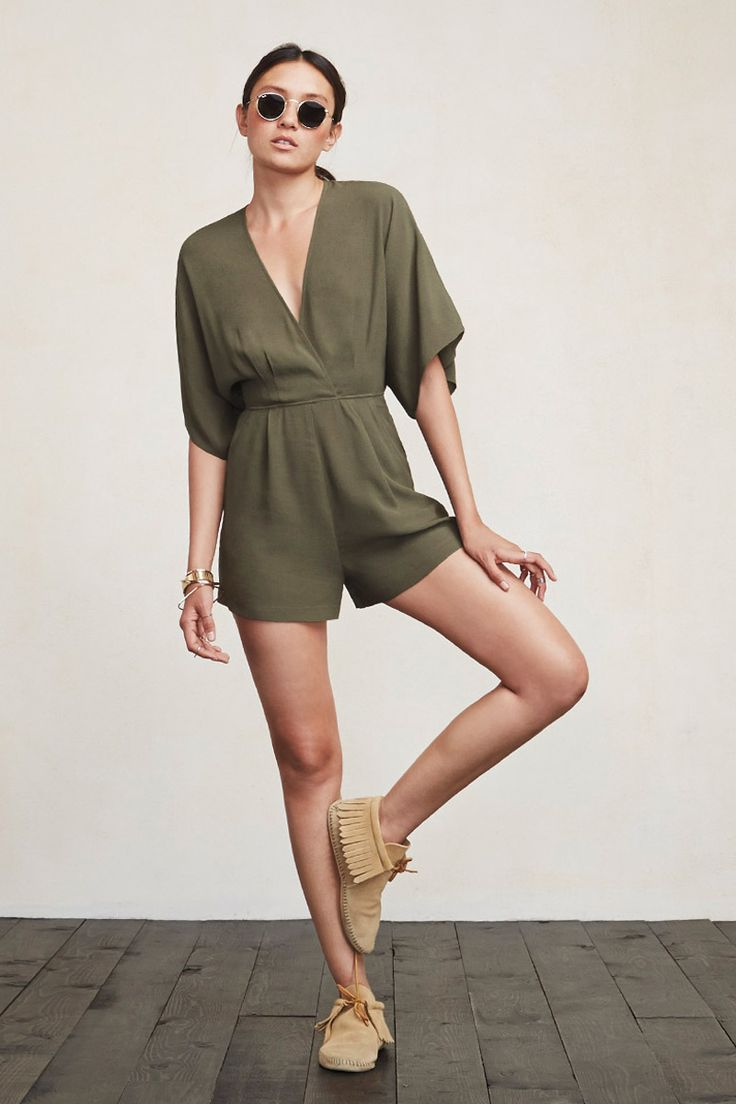 Mini dresses are great but sometimes it's nice to not worry about the wind blowing your skirt up. Enter the Leela Jumpsuit. You get to breeze around care-free and also look really cute. This is a ghost crepe jumper with a wrap neckline, kimono sleeves and side pockets.  https://www.thereformation.com/products/leela-jumpsuit-army?utm_source=pinterest&utm_medium=organic&utm_campaign=PinterestOwnedPins