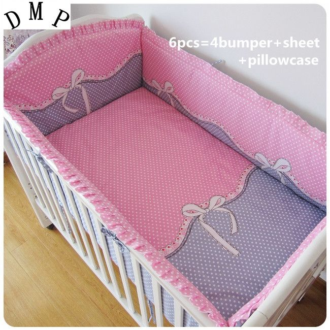 42.80$  Watch now - http://alihmk.shopchina.info/1/go.php?t=32322316444 - Promotion! 6PCS 100% cotton baby bed baby bedding sets piece set crib set (bumper+sheet+pillow cover)  #buychinaproducts