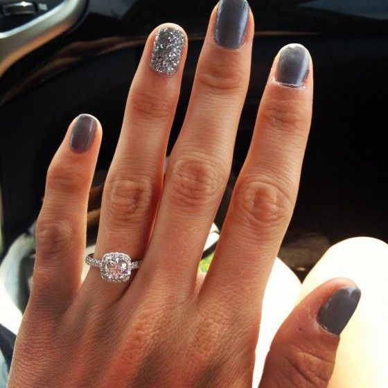 STUNNING engagement ring (and how about that nail polish?)