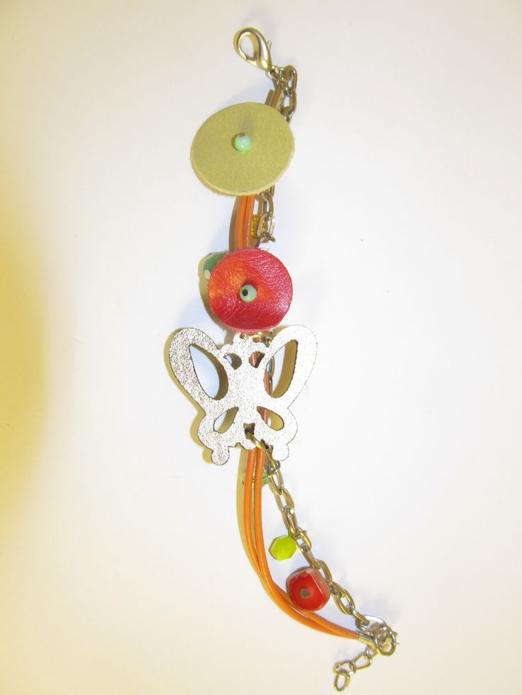 Handmade laser cut leather bracelet (1 pc)  Made with gold leather butterfly, leather cord, chain, coral and glass beads.
