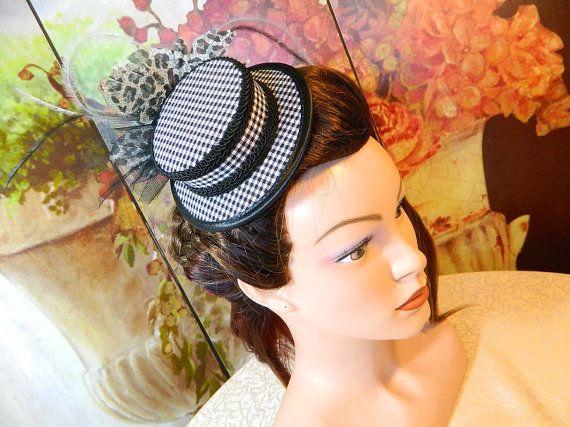 Minihat Summerhat bw gingham Gothic Victorian Tophat Fascinator Minizylinder Steampunk Burlesque Larping Wedding Costume