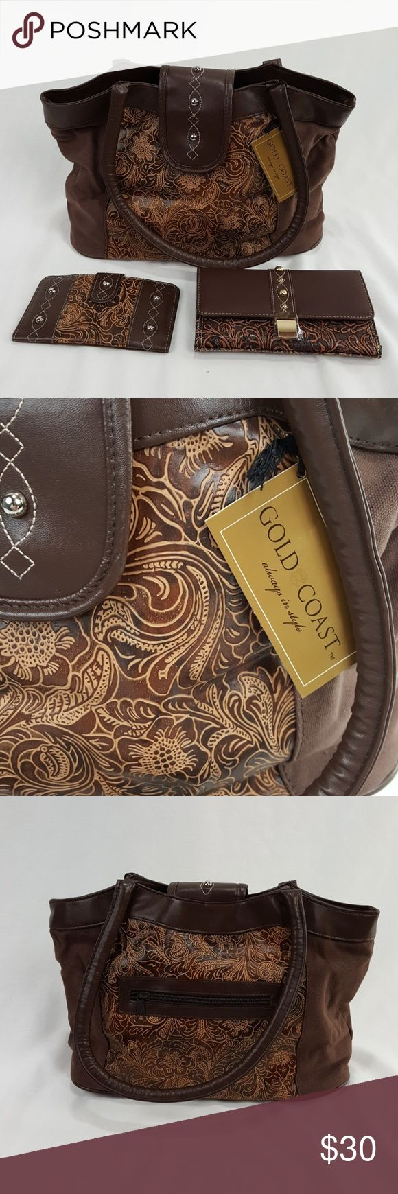 """Brown purse set Gold coast brown and tan purse with matching wallet and checkbook cover.  Purse is about 13"""" long and 9"""" tall. gold coast Bags Satchels"""
