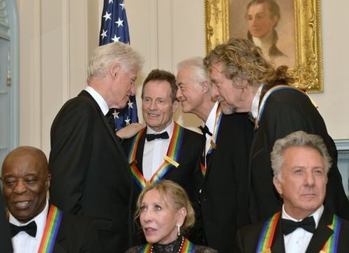 "youdopia:    State Dept party for Kennedy Award winners. Led Zeppelin and former president Bill Clinton talking about… I can only imagine!   ""How'd you boys get away with bein' so filthy?"""