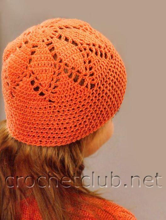 Orange hat with diagram