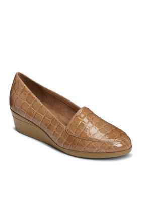 Aerosoles Women's True Match Tailored Wedge Loafer - Tan Crocodile - 10.5M