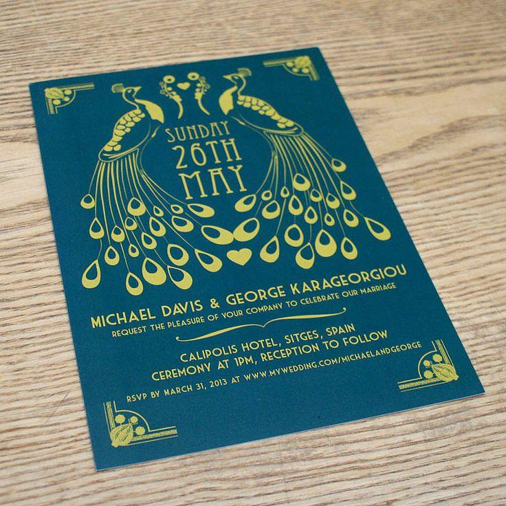 peacock art deco wedding invitation by magik moments | notonthehighstreet.com