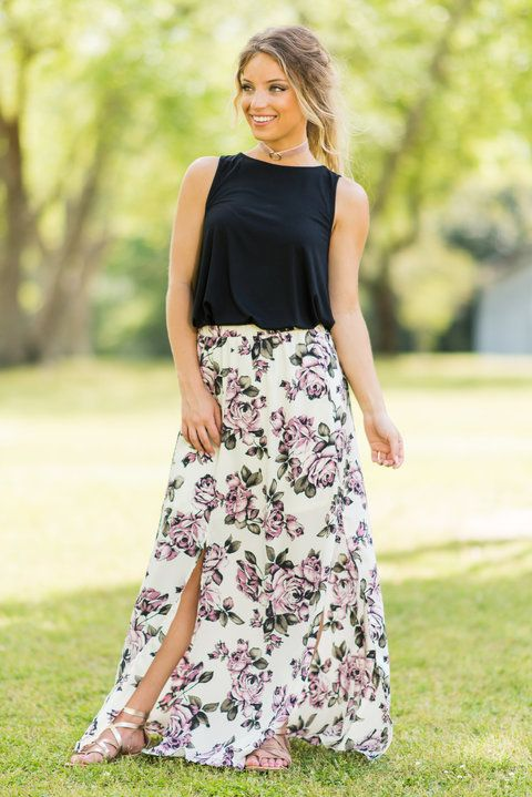 """""""Flowers In The Wind Skirt, Cream""""This maxi skirt has so much wonderful movement! The two slits make this maxi light and airy which is great for spring and summer. #newarrivals #shopthemint"""