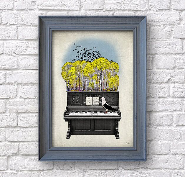 Piano art, music poster, autumn print, studio wall decor, Natalprint. by Natalprint on Etsy https://www.etsy.com/listing/545232636/piano-art-music-poster-autumn-print