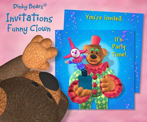 Dinky Bears - Clown with Jack in the Box Invitation - Digital Download by DinkyPrints